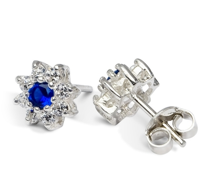 BLUE ZINNIA Silver Stud Earrings