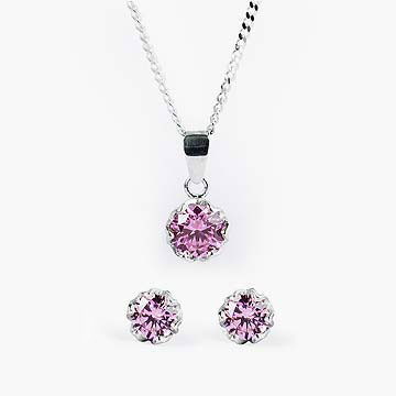 Pink Esme Earrings and Necklace Set