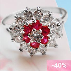 Kazumi Pink Silver Cocktail Ring