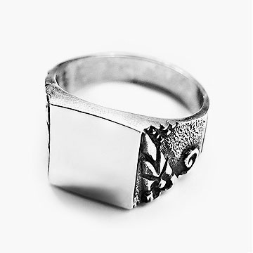 Hilt Sterling Silver Men's Ring with Black Oxidised Finish