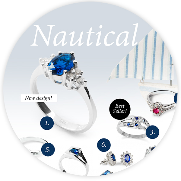 Nautical style jewellery: navy blue