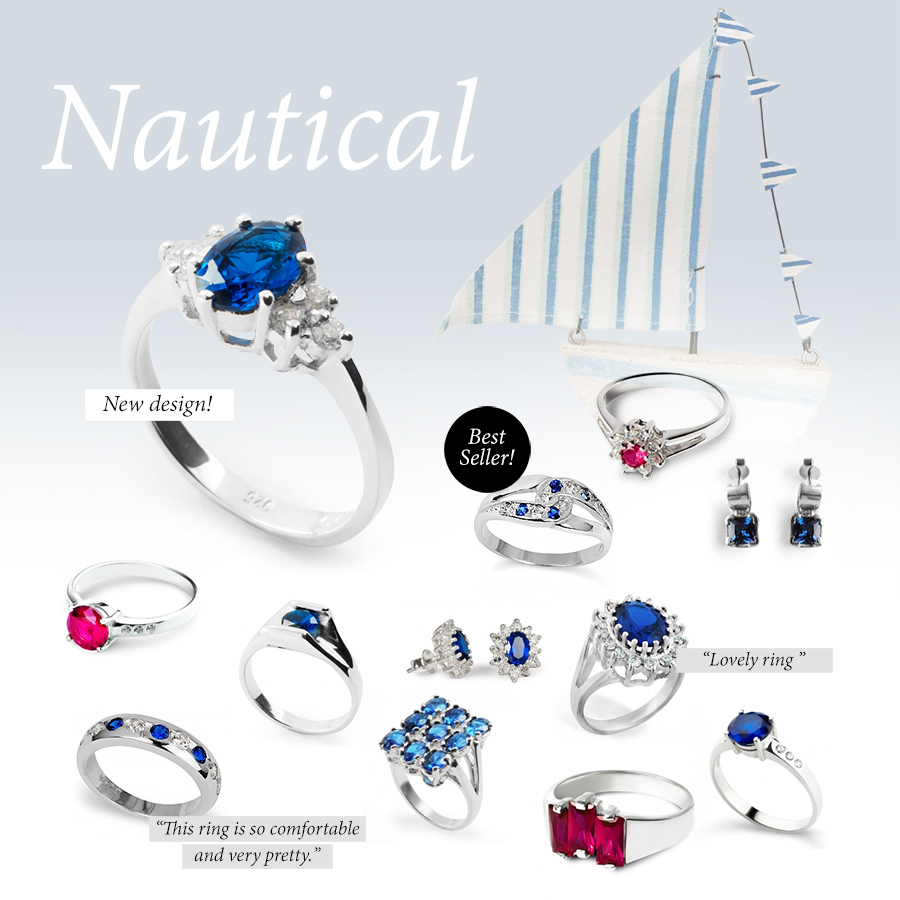 Nautical style jewellery: navy, blue