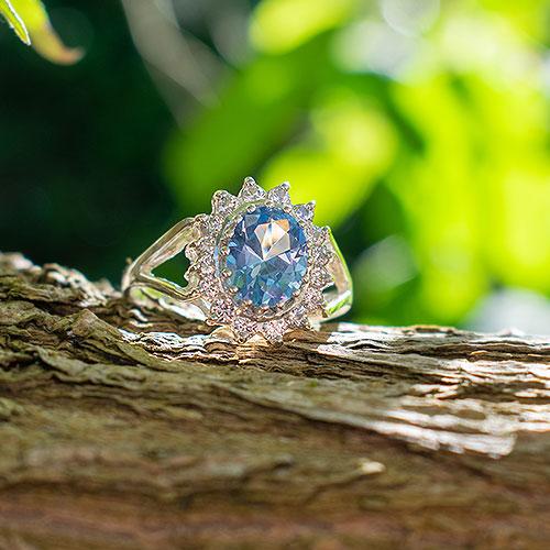 AQUAMARINE MIZUMI Silver Ring