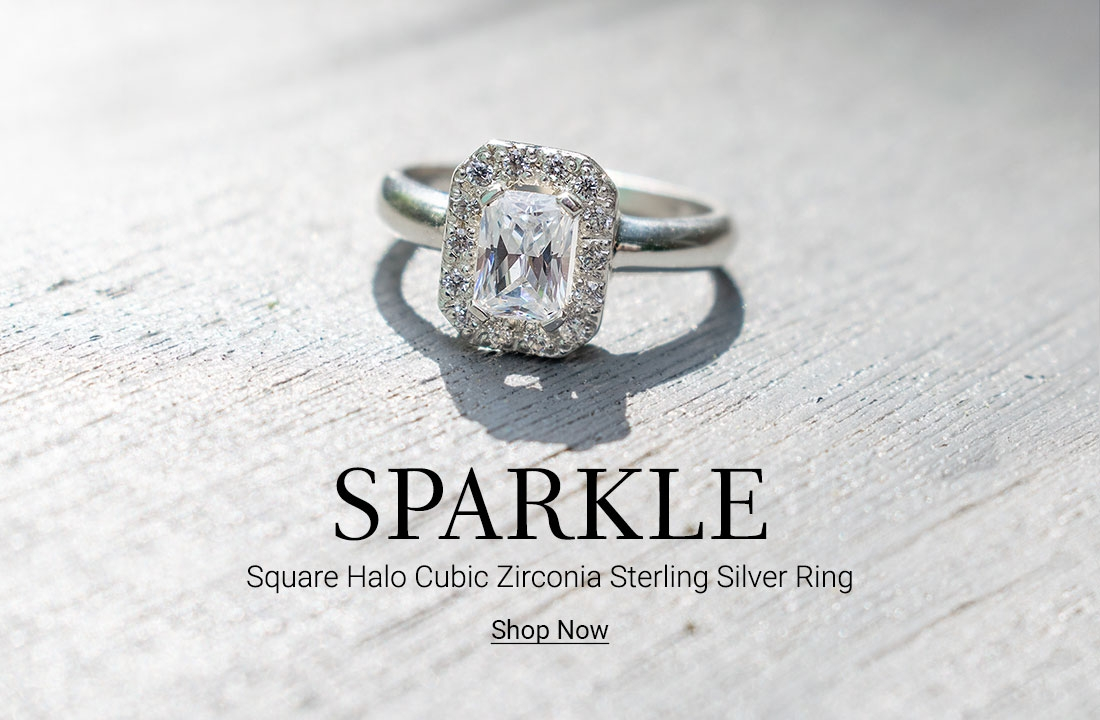 Square Halo Cubic Zirconia Sterling Silver Ring