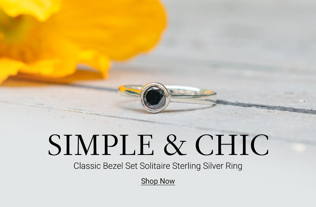 Classic Bezel Set Round Solitaire Sterling Silver Ring
