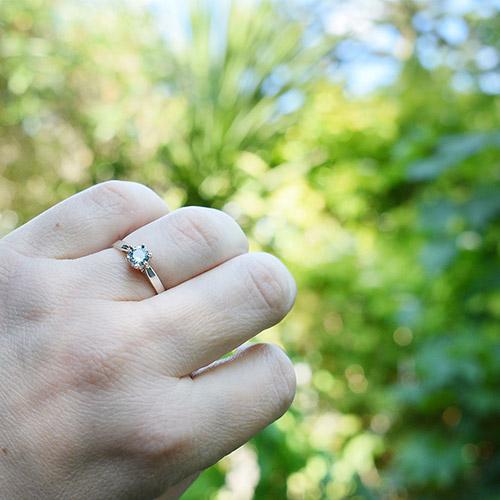 Sterling Silver Solitaire Engagement Ring with a Round Aquamarine