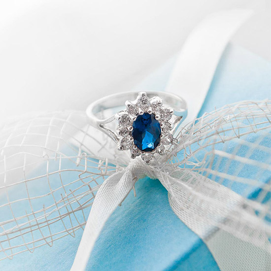 AMIRRA Silver Ring with Sapphire and Cubic Zirconia