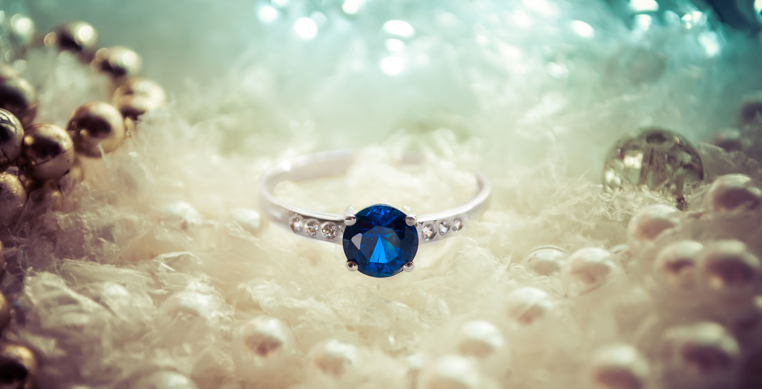 GEORGETTE Silver Ring with Blue Sapphire and Cubic Zirconia
