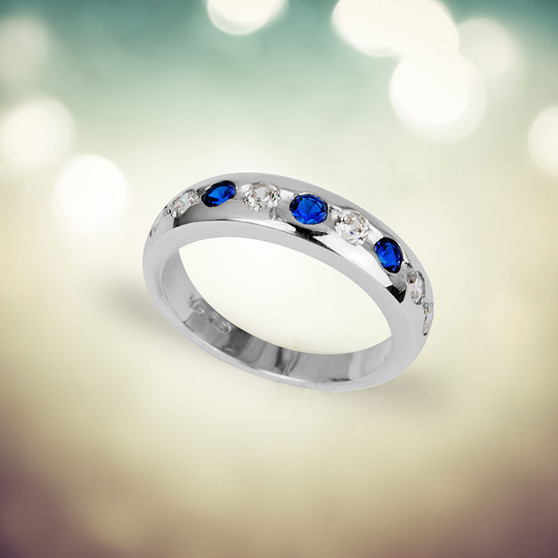 SACHA Blue Sapphire and Cubic Zirconia Silver Ring