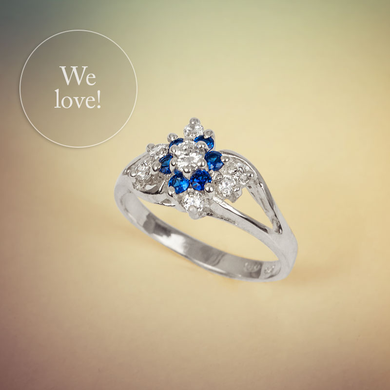 VIVI, Silver Ring with Blue Sapphires and Round Cubic Zirconia